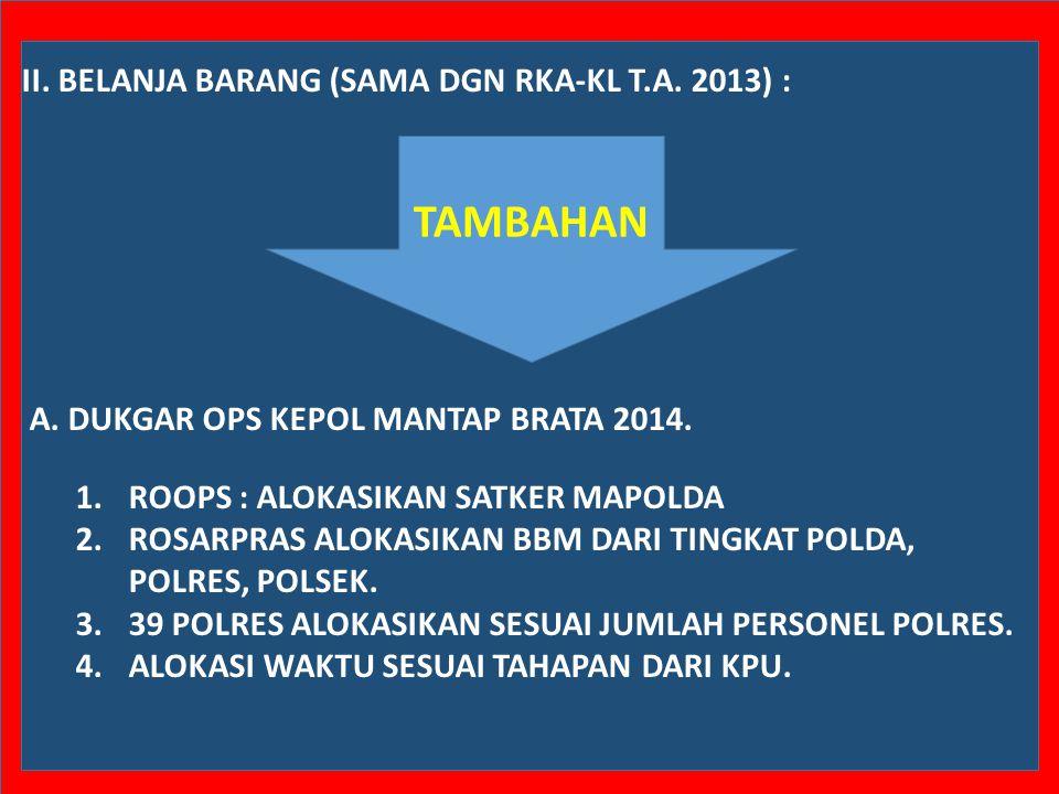 II.BELANJA BARANG (SAMA DGN RKA-KL T.A. 2013) : A.