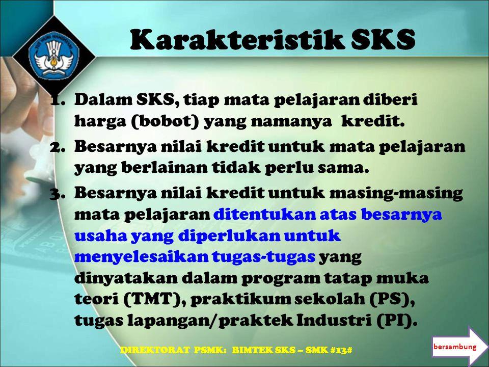 Karakteristik SKS 1.Dalam SKS, tiap mata pelajaran diberi harga (bobot) yang namanya kredit. 2.Besarnya nilai kredit untuk mata pelajaran yang berlain