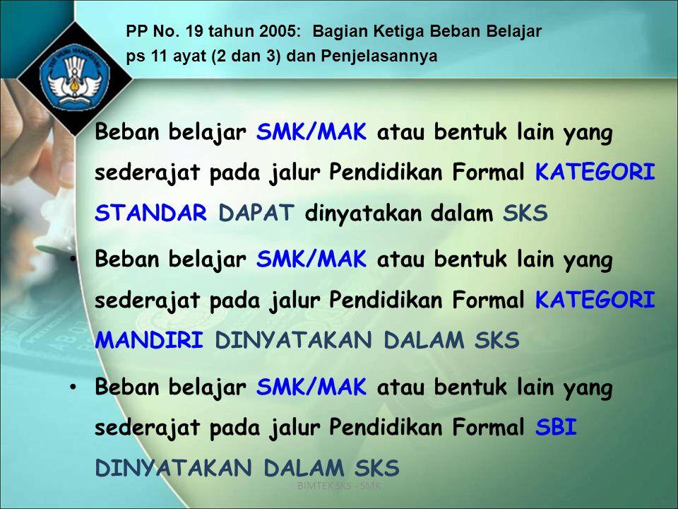 BIMTEK SKS - SMK PP No. 19 tahun 2005: Bagian Ketiga Beban Belajar ps 11 ayat (2 dan 3) dan Penjelasannya Beban belajar SMK/MAK atau bentuk lain yang