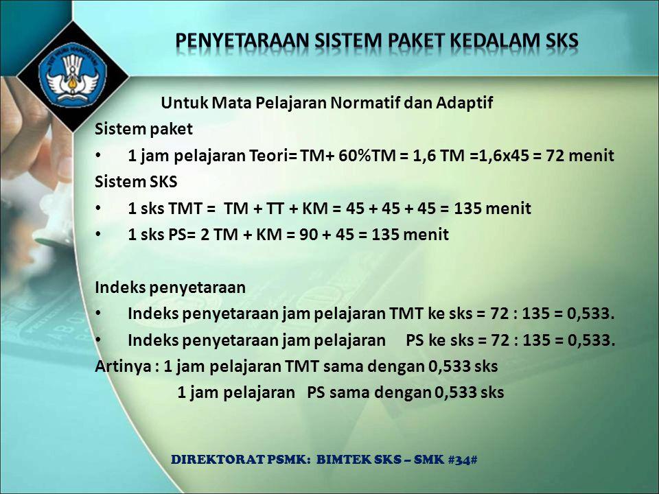 Untuk Mata Pelajaran Normatif dan Adaptif Sistem paket 1 jam pelajaran Teori= TM+ 60%TM = 1,6 TM =1,6x45 = 72 menit Sistem SKS 1 sks TMT = TM + TT + K