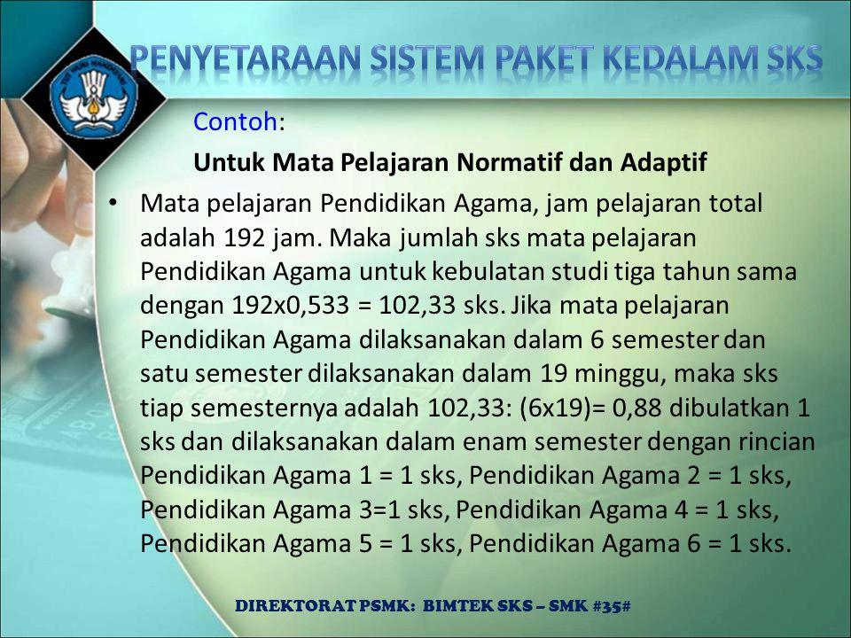 Contoh: Untuk Mata Pelajaran Normatif dan Adaptif Mata pelajaran Pendidikan Agama, jam pelajaran total adalah 192 jam. Maka jumlah sks mata pelajaran