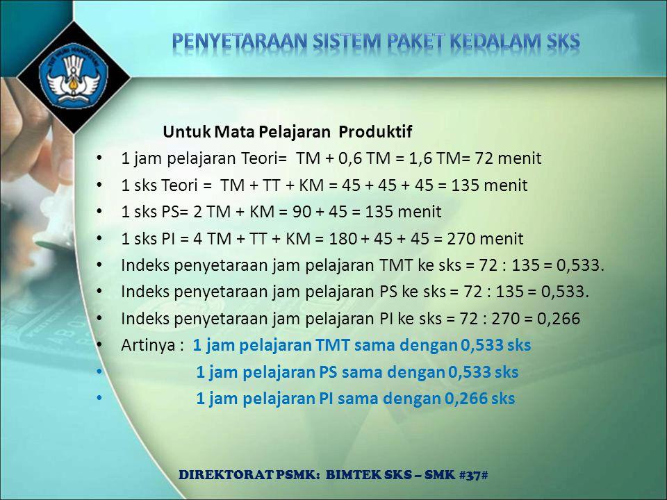 Untuk Mata Pelajaran Produktif 1 jam pelajaran Teori= TM + 0,6 TM = 1,6 TM= 72 menit 1 sks Teori = TM + TT + KM = 45 + 45 + 45 = 135 menit 1 sks PS= 2
