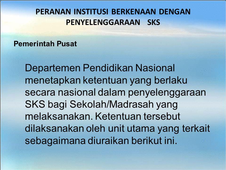 BIMTEK SKS - SMK PERANAN INSTITUSI BERKENAAN DENGAN PENYELENGGARAAN SKS Pemerintah Pusat Departemen Pendidikan Nasional menetapkan ketentuan yang berl