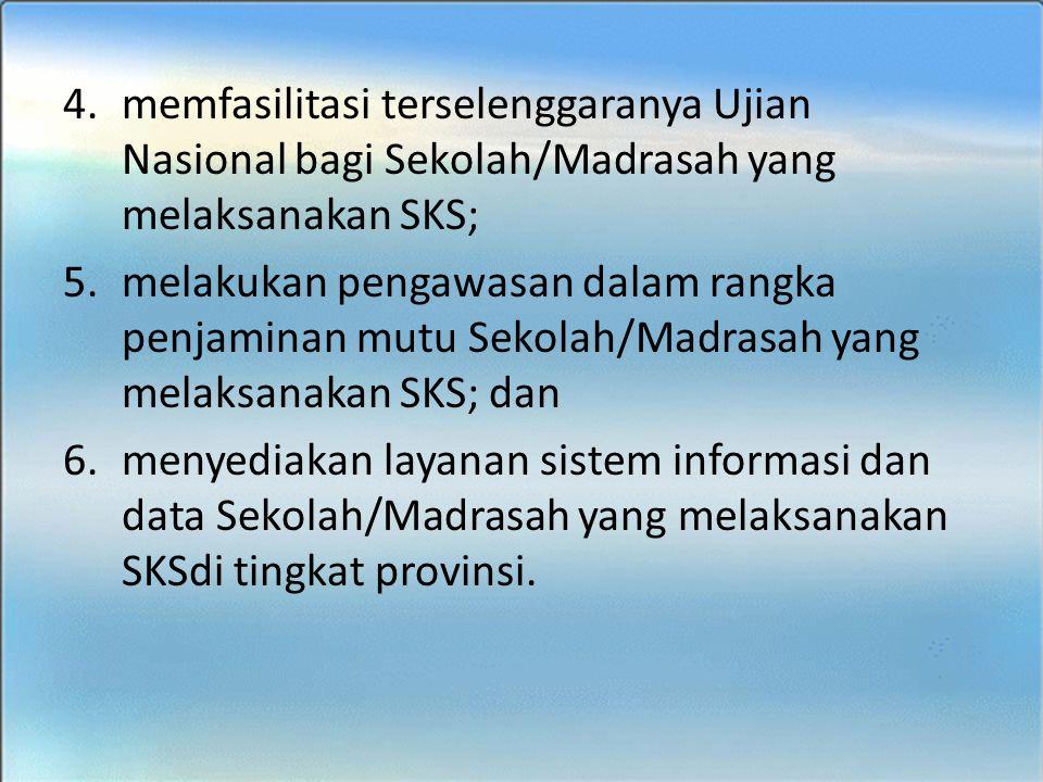 BIMTEK SKS - SMK 4.memfasilitasi terselenggaranya Ujian Nasional bagi Sekolah/Madrasah yang melaksanakan SKS; 5.melakukan pengawasan dalam rangka penj