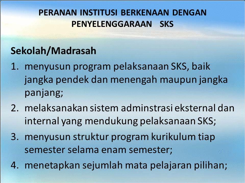 BIMTEK SKS - SMK Sekolah/Madrasah 1.menyusun program pelaksanaan SKS, baik jangka pendek dan menengah maupun jangka panjang; 2.melaksanakan sistem adm
