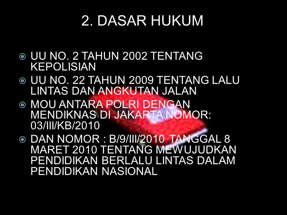  UU NO. 2 TAHUN 2002 TENTANG KEPOLISIAN  UU NO. 22 TAHUN 2009 TENTANG LALU LINTAS DAN ANGKUTAN JALAN  MOU ANTARA POLRI DENGAN MENDIKNAS DI JAKARTA