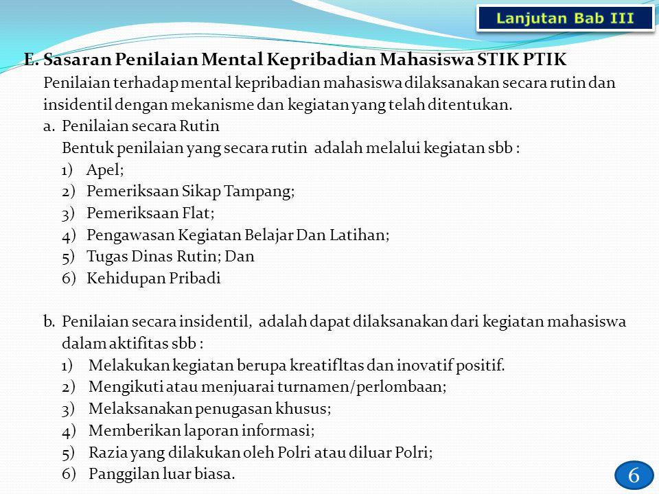 6 E.Sasaran Penilaian Mental Kepribadian Mahasiswa STIK PTIK Penilaian terhadap mental kepribadian mahasiswa dilaksanakan secara rutin dan insidentil