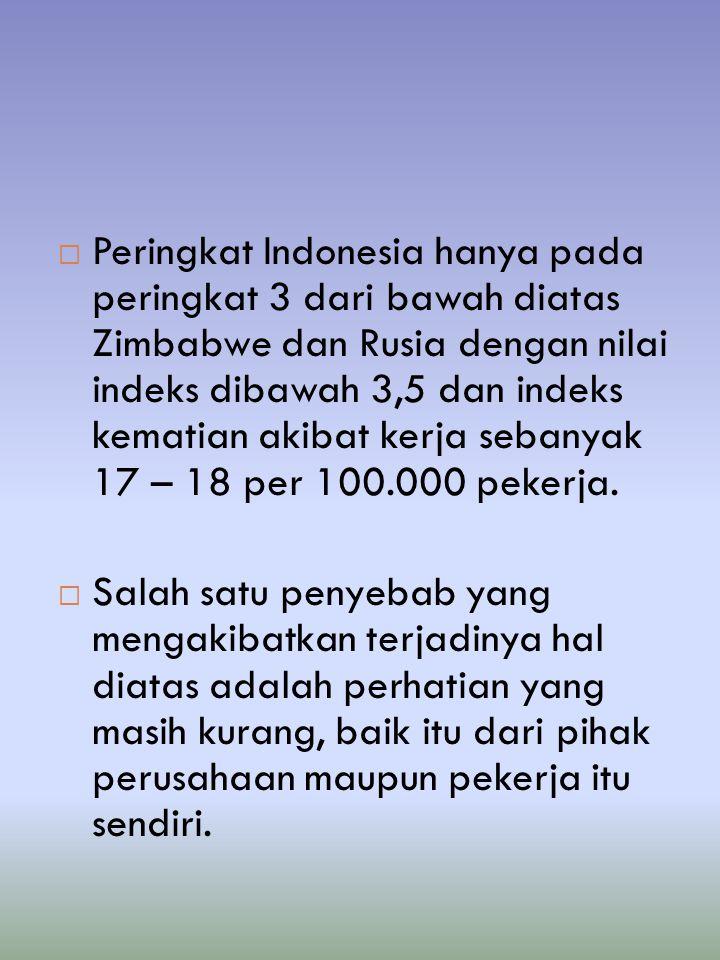  Peringkat Indonesia hanya pada peringkat 3 dari bawah diatas Zimbabwe dan Rusia dengan nilai indeks dibawah 3,5 dan indeks kematian akibat kerja seb