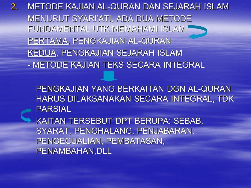 2.METODE KAJIAN AL-QURAN DAN SEJARAH ISLAM MENURUT SYARI'ATI, ADA DUA METODE FUNDAMENTAL UTK MEMAHAMI ISLAM PERTAMA, PENGKAJIAN AL-QURAN KEDUA, PENGKA