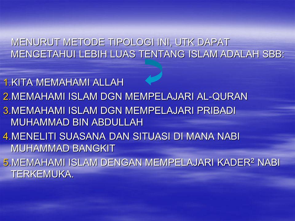 MENURUT METODE TIPOLOGI INI, UTK DAPAT MENGETAHUI LEBIH LUAS TENTANG ISLAM ADALAH SBB: MENURUT METODE TIPOLOGI INI, UTK DAPAT MENGETAHUI LEBIH LUAS TE