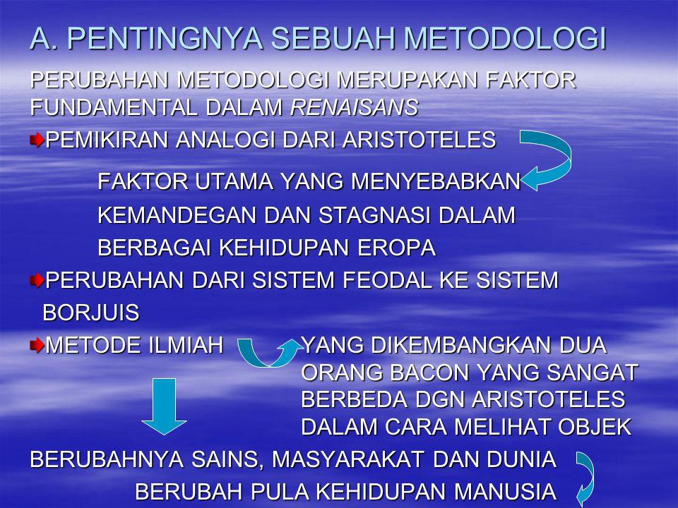 A. PENTINGNYA SEBUAH METODOLOGI PERUBAHAN METODOLOGI MERUPAKAN FAKTOR FUNDAMENTAL DALAM RENAISANS PEMIKIRAN ANALOGI DARI ARISTOTELES FAKTOR UTAMA YANG