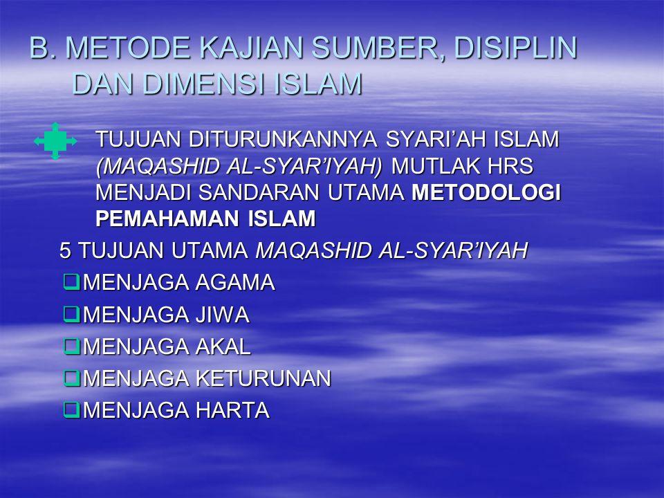 B. METODE KAJIAN SUMBER, DISIPLIN DAN DIMENSI ISLAM TUJUAN DITURUNKANNYA SYARI'AH ISLAM (MAQASHID AL-SYAR'IYAH) MUTLAK HRS MENJADI SANDARAN UTAMA METO