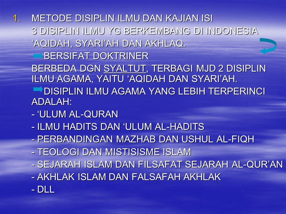 1.METODE DISIPLIN ILMU DAN KAJIAN ISI 3 DISIPLIN ILMU YG BERKEMBANG DI INDONESIA 'AQIDAH, SYARI'AH DAN AKHLAQ. BERSIFAT DOKTRINER BERSIFAT DOKTRINER B