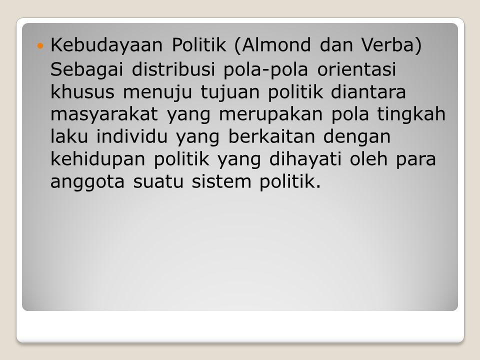 Kebudayaan Politik (Almond dan Verba) Sebagai distribusi pola-pola orientasi khusus menuju tujuan politik diantara masyarakat yang merupakan pola ting