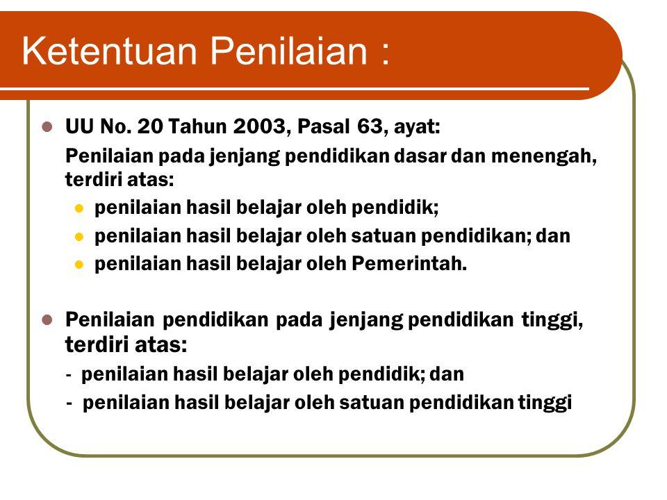Ketentuan Penilaian : UU No. 20 Tahun 2003, Pasal 63, ayat: Penilaian pada jenjang pendidikan dasar dan menengah, terdiri atas: penilaian hasil belaja