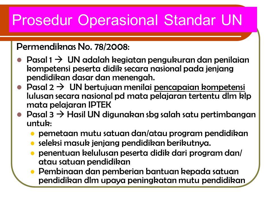 Prosedur Operasional Standar UN Permendiknas No. 78/2008: Pasal 1  UN adalah kegiatan pengukuran dan penilaian kompetensi peserta didik secara nasion