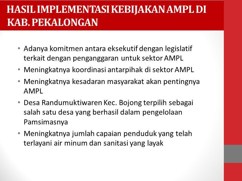 HASIL IMPLEMENTASI KEBIJAKAN AMPL DI KAB. PEKALONGAN Adanya komitmen antara eksekutif dengan legislatif terkait dengan penganggaran untuk sektor AMPL