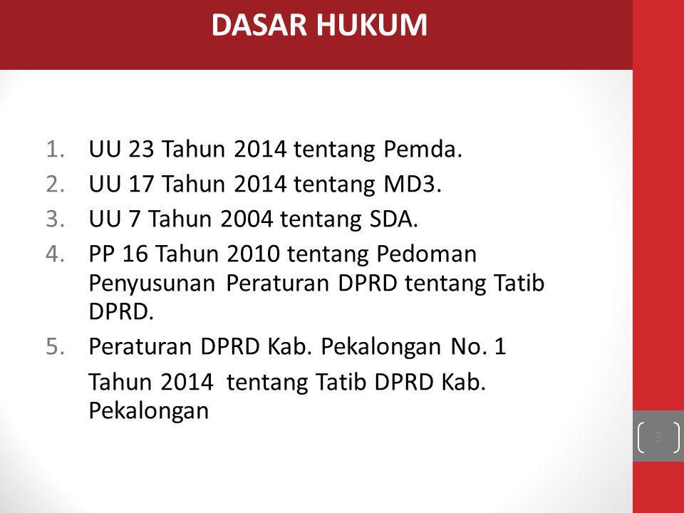 1.UU 23 Tahun 2014 tentang Pemda. 2.UU 17 Tahun 2014 tentang MD3. 3.UU 7 Tahun 2004 tentang SDA. 4.PP 16 Tahun 2010 tentang Pedoman Penyusunan Peratur