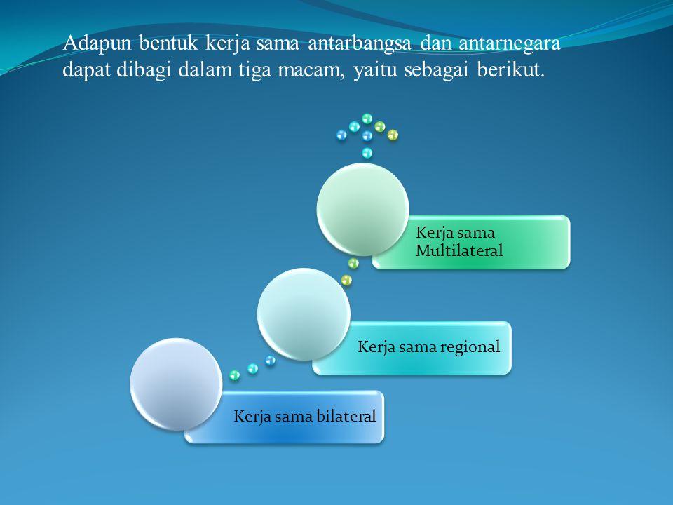 Adapun bentuk kerja sama antarbangsa dan antarnegara dapat dibagi dalam tiga macam, yaitu sebagai berikut.