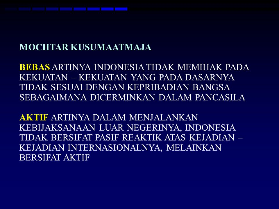 Peran Indonesia Dalam Perdamaian Dunia Pengiriman Pasukan Garuda 1 ke Mesir th 1956 untuk mengamankan dan mengawasi genjatan senjata Pengiriman Pasukan Garuda 3 ke Kongo bulan Desember 1963 – Agustus 1964 Pengiriman Pasukan Garuda 10 ke Namibia bulan Juni 1989 – Maret 1990 Pengiriman Pasukan Garuda 11 ke Somalia bulan Juli 1992 – April 1993 Menjadi anggota Dewan Keamanan PBB dll