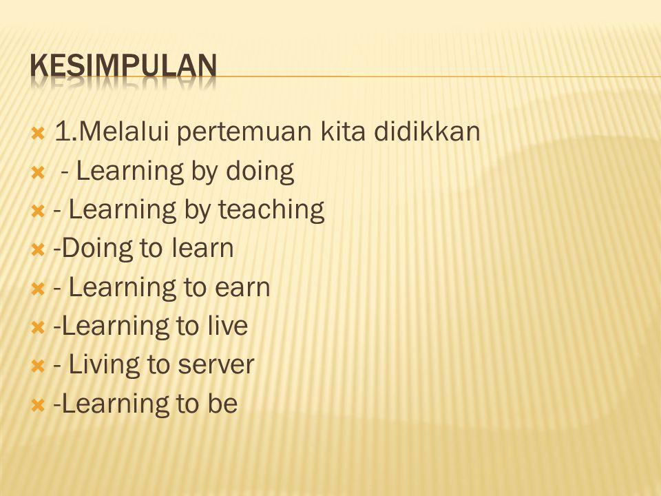  1.Melalui pertemuan kita didikkan  - Learning by doing  - Learning by teaching  -Doing to learn  - Learning to earn  -Learning to live  - Livi