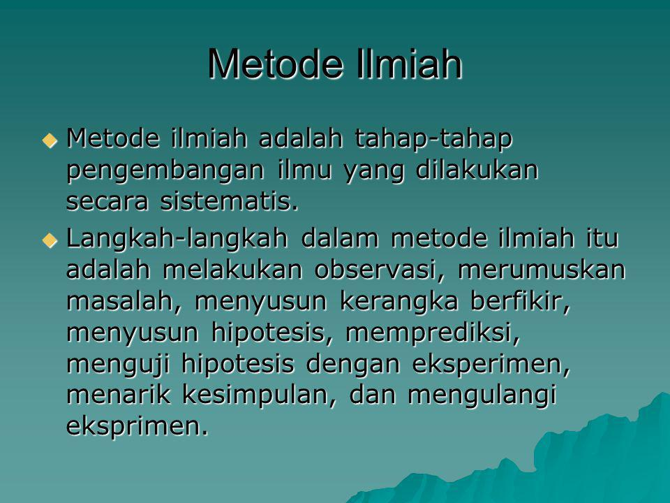 Metode Ilmiah MMMMetode ilmiah adalah tahap-tahap pengembangan ilmu yang dilakukan secara sistematis. LLLLangkah-langkah dalam metode ilmiah i