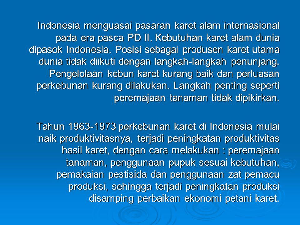 Indonesia menguasai pasaran karet alam internasional pada era pasca PD II. Kebutuhan karet alam dunia dipasok Indonesia. Posisi sebagai produsen karet