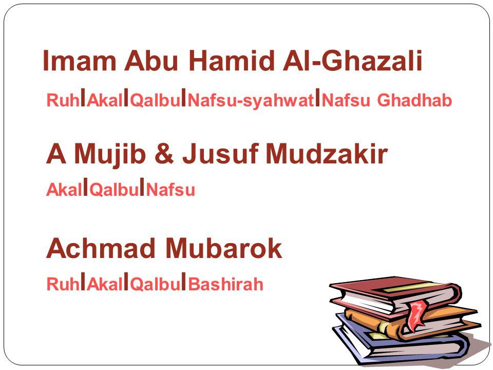 Pandangan Psikologi Islami Mempertemukan pandangan Imam Al- Ghazali, A Mujib & Jusuf Mudzakir, Achmad Mubarok Jiwa: I Akal l Qalbu l Nafsu I Catatan: (1) Nafsu terdiri atas Nafsu Ghadhab dan Syahwat.