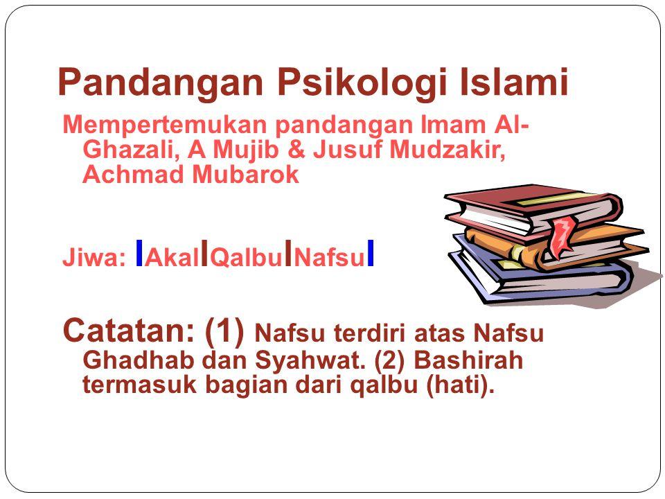 Pandangan Psikologi Islami Mempertemukan pandangan Imam Al- Ghazali, A Mujib & Jusuf Mudzakir, Achmad Mubarok Jiwa: I Akal l Qalbu l Nafsu I Catatan: