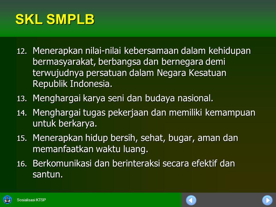 Sosialisasi KTSP 12. Menerapkan nilai-nilai kebersamaan dalam kehidupan bermasyarakat, berbangsa dan bernegara demi terwujudnya persatuan dalam Negara