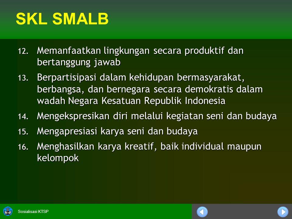 Sosialisasi KTSP 12.Memanfaatkan lingkungan secara produktif dan bertanggung jawab 13.