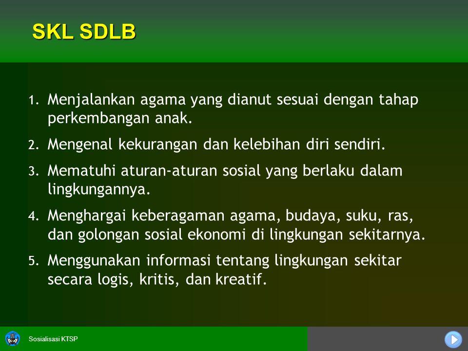Sosialisasi KTSP SKL SDLB 1. 1. Menjalankan agama yang dianut sesuai dengan tahap perkembangan anak. 2. 2. Mengenal kekurangan dan kelebihan diri send