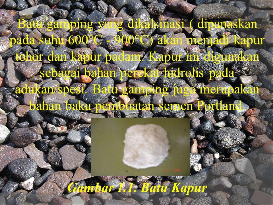Batu gamping yang dikalsinasi ( dipanaskan pada suhu 600°C - 900°C) akan menjadi kapur tohor dan kapur padam. Kapur ini digunakan sebagai bahan pereka