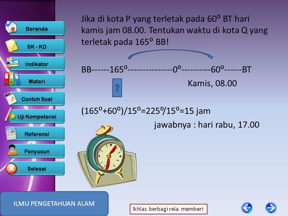 Ikhlas berbagi rela memberi Jika di kota P yang terletak pada 60⁰ BT hari kamis jam 08.00.