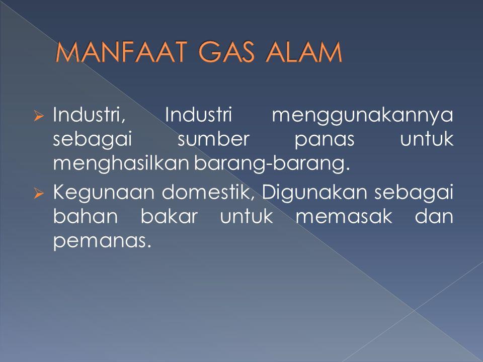  Industri, Industri menggunakannya sebagai sumber panas untuk menghasilkan barang-barang.  Kegunaan domestik, Digunakan sebagai bahan bakar untuk me