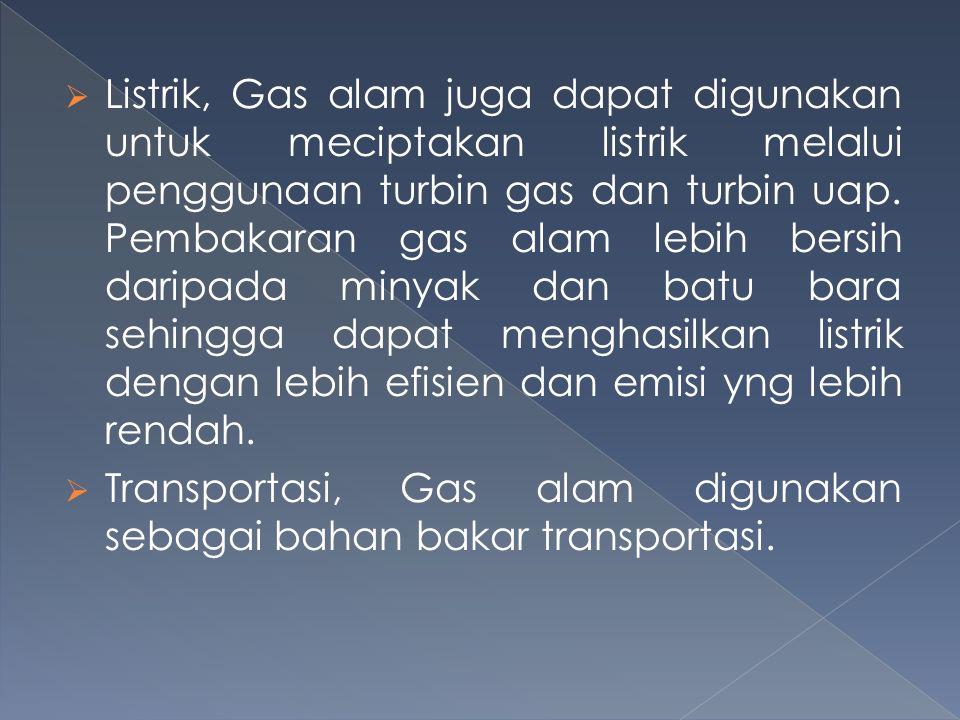  Listrik, Gas alam juga dapat digunakan untuk meciptakan listrik melalui penggunaan turbin gas dan turbin uap. Pembakaran gas alam lebih bersih darip