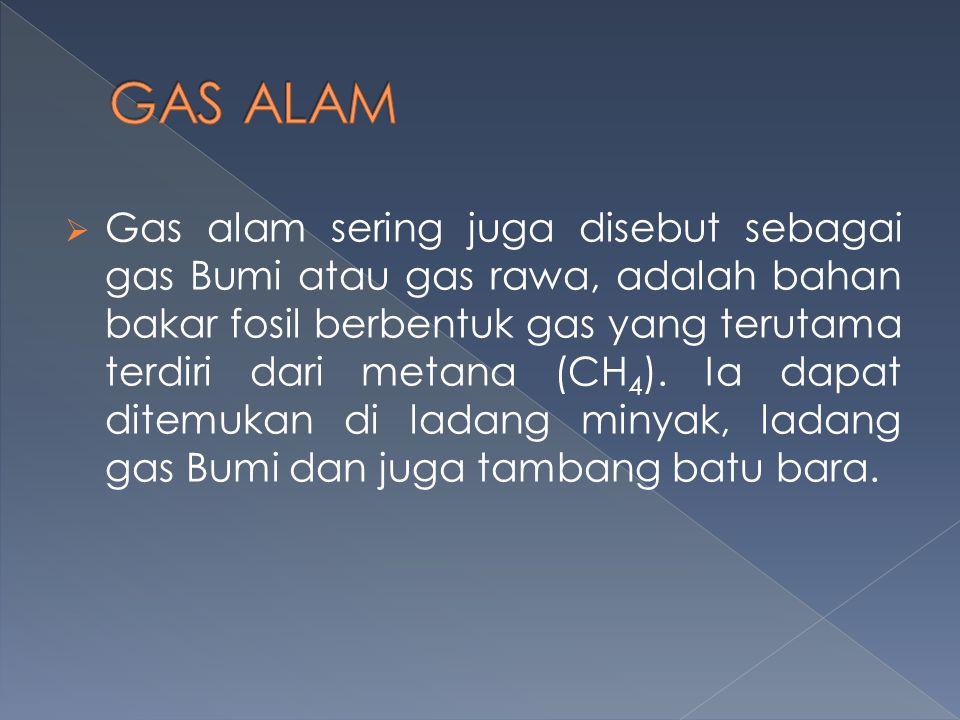  Gas alam sering juga disebut sebagai gas Bumi atau gas rawa, adalah bahan bakar fosil berbentuk gas yang terutama terdiri dari metana (CH 4 ). Ia da
