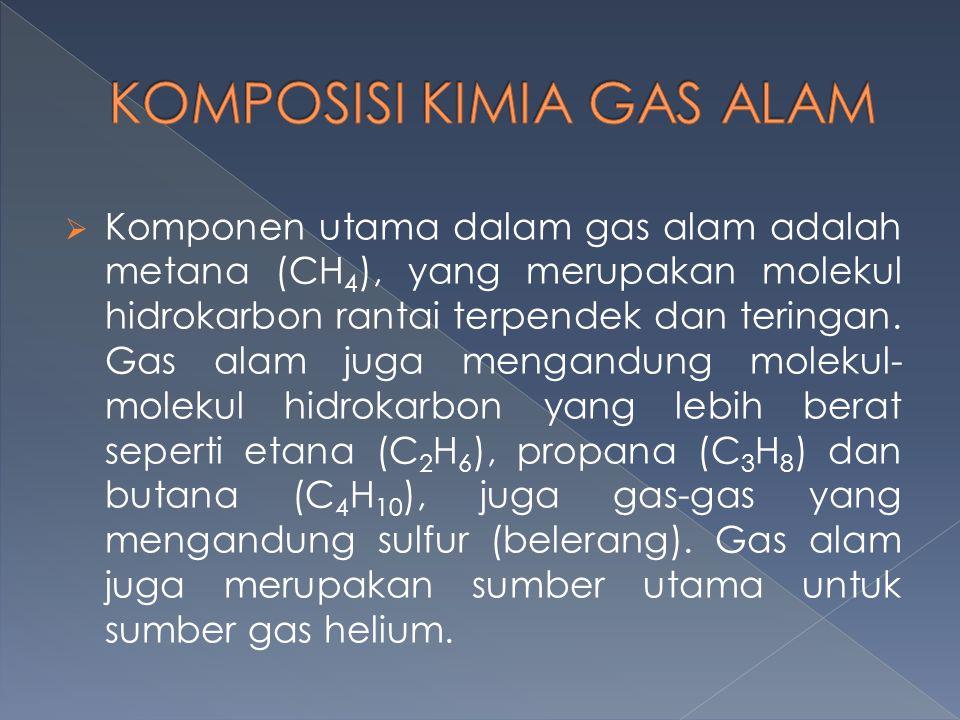  Komponen utama dalam gas alam adalah metana (CH 4 ), yang merupakan molekul hidrokarbon rantai terpendek dan teringan. Gas alam juga mengandung mole