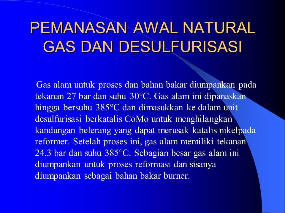 PEMANASAN AWAL NATURAL GAS DAN DESULFURISASI Gas alam untuk proses dan bahan bakar diumpankan pada tekanan 27 bar dan suhu 30°C. Gas alam ini dipanask