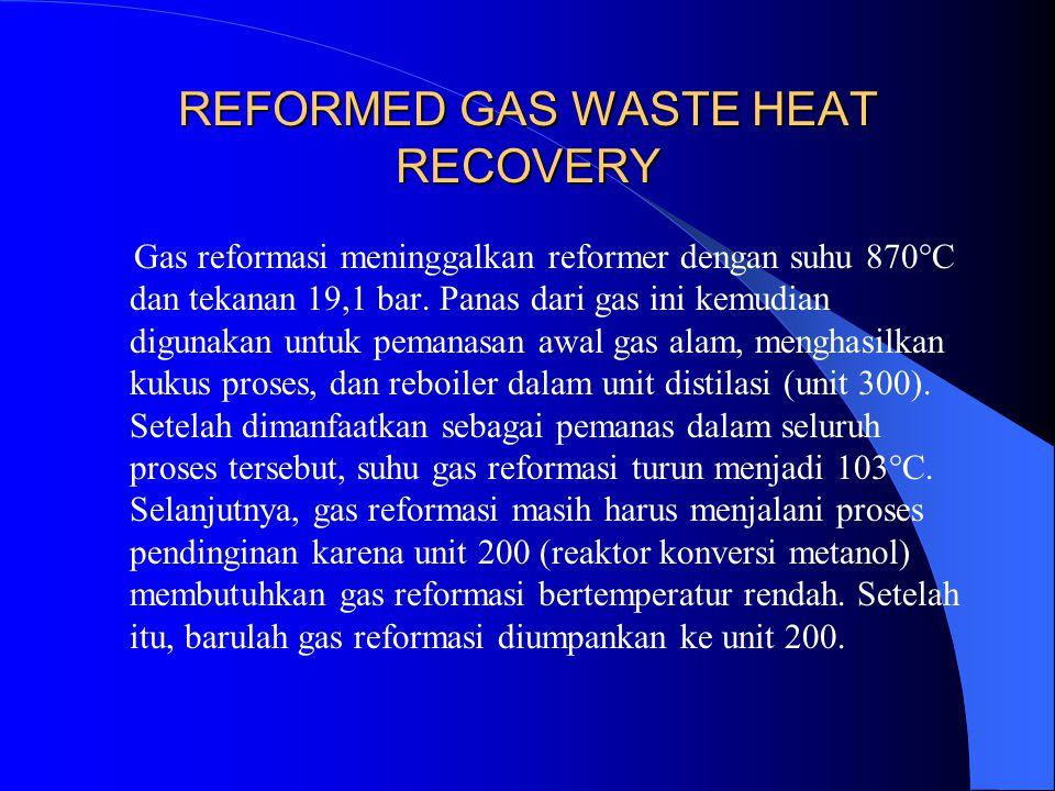 REFORMED GAS WASTE HEAT RECOVERY Gas reformasi meninggalkan reformer dengan suhu 870°C dan tekanan 19,1 bar. Panas dari gas ini kemudian digunakan unt