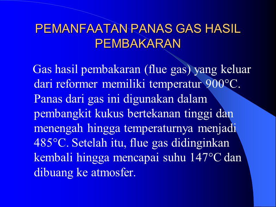 PEMANFAATAN PANAS GAS HASIL PEMBAKARAN Gas hasil pembakaran (flue gas) yang keluar dari reformer memiliki temperatur 900°C. Panas dari gas ini digunak