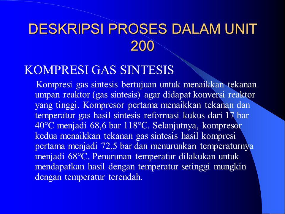 DESKRIPSI PROSES DALAM UNIT 200 KOMPRESI GAS SINTESIS Kompresi gas sintesis bertujuan untuk menaikkan tekanan umpan reaktor (gas sintesis) agar didapa