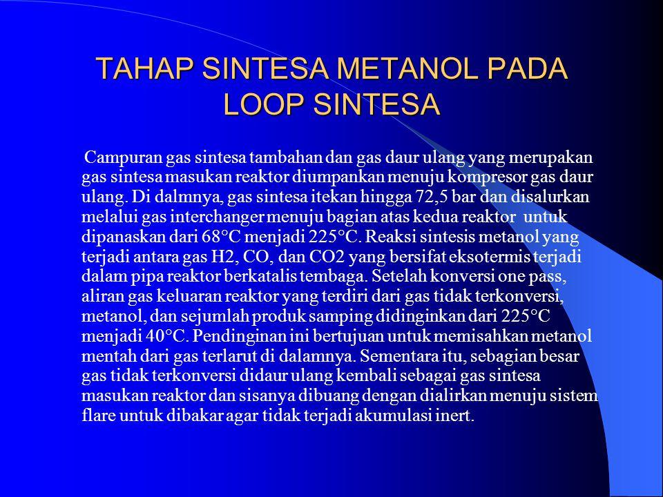 TAHAP SINTESA METANOL PADA LOOP SINTESA Campuran gas sintesa tambahan dan gas daur ulang yang merupakan gas sintesa masukan reaktor diumpankan menuju