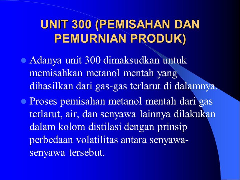 UNIT 300 (PEMISAHAN DAN PEMURNIAN PRODUK) Adanya unit 300 dimaksudkan untuk memisahkan metanol mentah yang dihasilkan dari gas-gas terlarut di dalamny