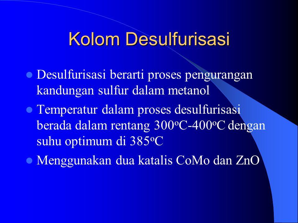 Kolom Desulfurisasi Desulfurisasi berarti proses pengurangan kandungan sulfur dalam metanol Temperatur dalam proses desulfurisasi berada dalam rentang