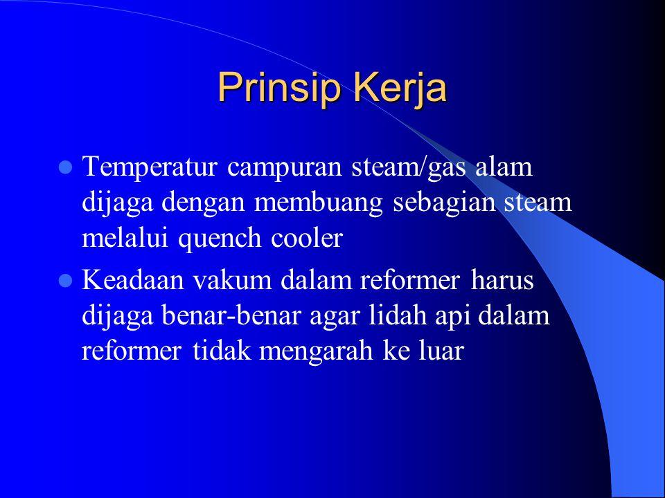 Prinsip Kerja Temperatur campuran steam/gas alam dijaga dengan membuang sebagian steam melalui quench cooler Keadaan vakum dalam reformer harus dijaga