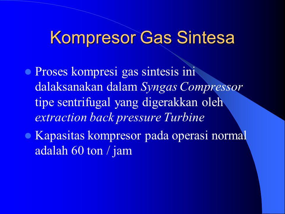 Kompresor Gas Sintesa Proses kompresi gas sintesis ini dalaksanakan dalam Syngas Compressor tipe sentrifugal yang digerakkan oleh extraction back pres