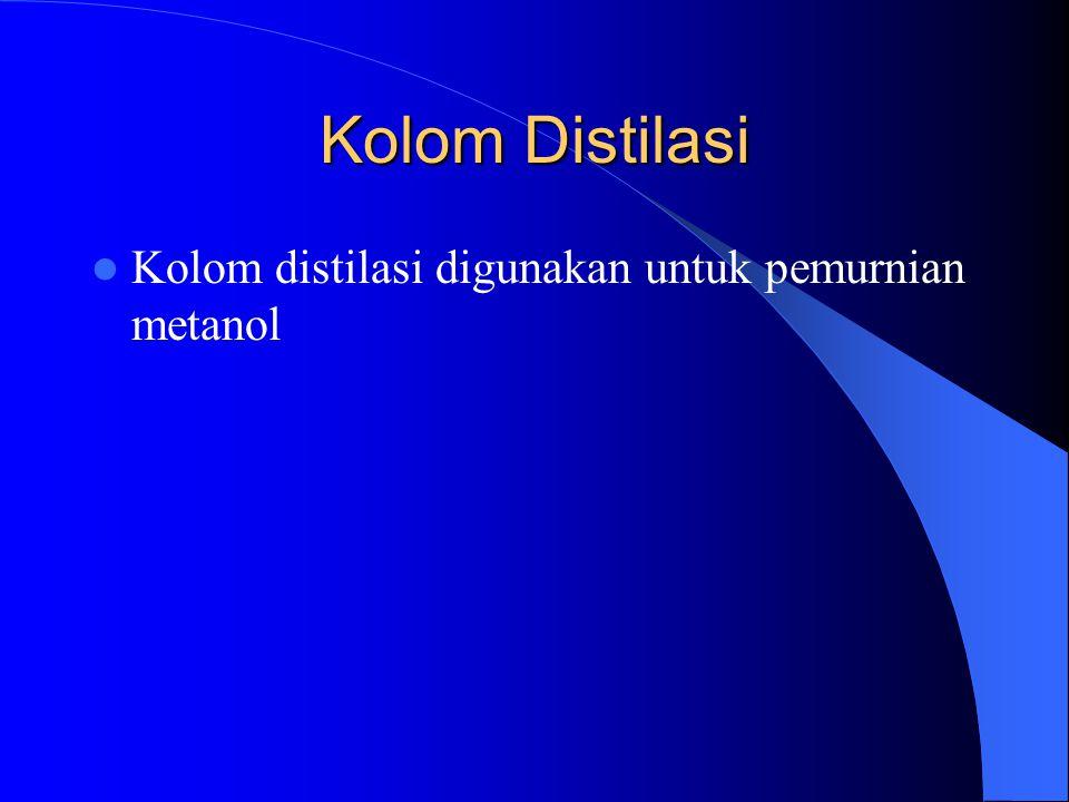 Kolom Distilasi Kolom distilasi digunakan untuk pemurnian metanol
