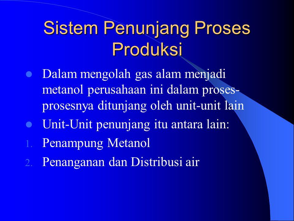 Sistem Penunjang Proses Produksi Dalam mengolah gas alam menjadi metanol perusahaan ini dalam proses- prosesnya ditunjang oleh unit-unit lain Unit-Uni