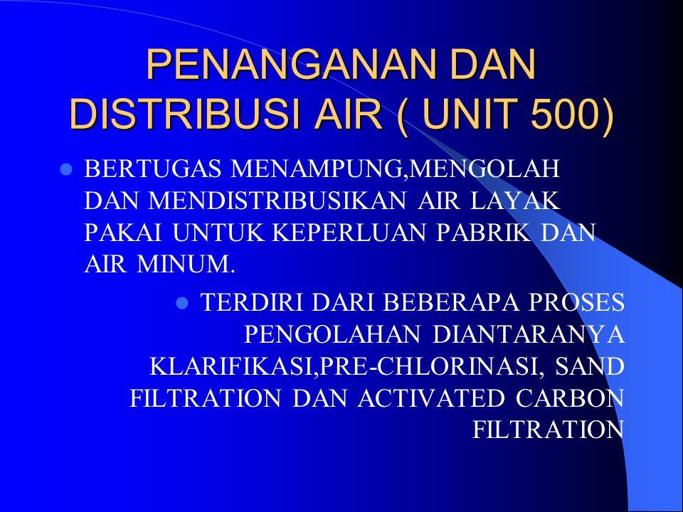 PENANGANAN DAN DISTRIBUSI AIR ( UNIT 500) BERTUGAS MENAMPUNG,MENGOLAH DAN MENDISTRIBUSIKAN AIR LAYAK PAKAI UNTUK KEPERLUAN PABRIK DAN AIR MINUM. TERDI